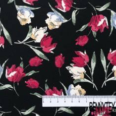 Crêpe Polyester Motif Projection Tulipe Rouge Ecru au Vent fond Noir