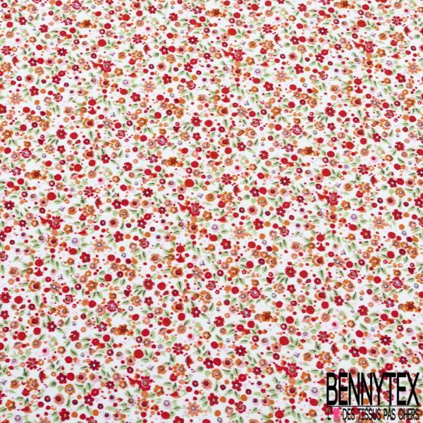 Satinette Polyester imprimé Petite Fleur Rouge Orange fond Blanc Cassé