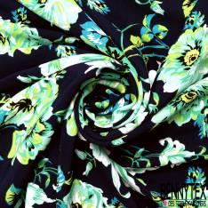Crêpe Viscose Imprimé Grande Rose Camaïeu Vert fond Bleu Nuit