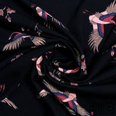 Crêpe Polyester Motif Envol Héron Esprit Japonisant fond Noir