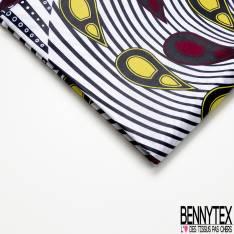 Wax Africain N° 684: Motif Plume de Paon Jaune Marine Blanc Rouge