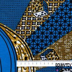 Wax Africain N° 681: Motif Jeu de Dé fond Fantaisie Bleu Marbré Ocre Blanc