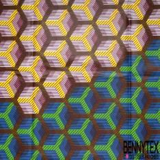 Wax Africain N° 679: Motif Entrelacs Hexagone Ocre Pomme Jaune fond Strié Bleu Blanc