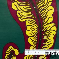 Wax Africain N° 672: Double Base Motif Cashemir Rouge Jaune fond Vert Sapin