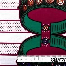 Wax Africain N° 691:Motif Couronne Pierres Précieuse fond Rayure Pois Bordeaux Blanc