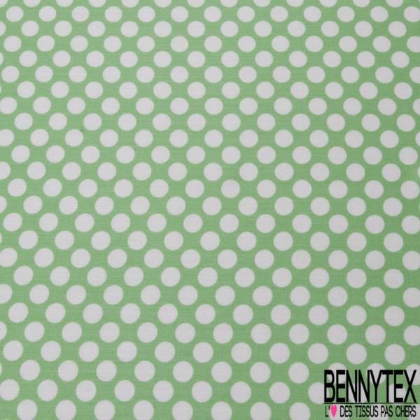 Fibranne Viscose Imprimé Pois Blanc fond Vert Pomme d'Api