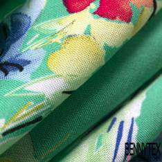 Fibranne Viscose Imprimé Fleurs Champêtre fond Vert de Jade