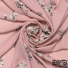 Crêpe Polyester Motif Petite Fleurs de Cerisier Japonais fond Rose Poudré