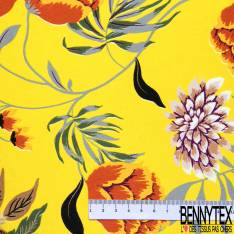 Satinette Polyester imprimé Grande Fleur Vintage fond Jaune