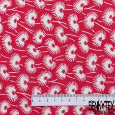 Polyester Fluide Opaque Motif Fleur de Pissenlit fond Rouge