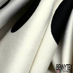 Satin de Coton Elasthanne Double Base Motif Fleur Tropicale fond Jaune Pastel