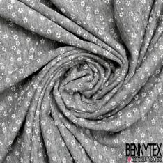 Molleton Bouclette Imprimé Petite Fleur Blanche fond Gris Chiné