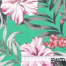 Coton Imprimé Fleur Tropicale fond Vert de Jade
