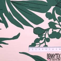 Coton Satiné Imprimé Grande Feuille Fleur Tropicale fond Rose Dragées