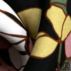 Panneau Crêpe Viscose Grande Fleur Japonisante fond Noir
