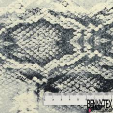Crêpe Polyester Motif Peau de Serpent fond Crème