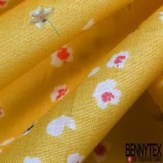 Voile de Coton Imprimé Petit e Fleur des champs fond Jaune Citron