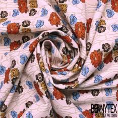 Crêpe Polyester Elasthanne Motif Fleur Vintage fond Rose Saumon