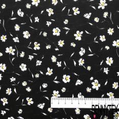 Coton Elasthanne Imprimé petite Fleur Estivale fond Noir