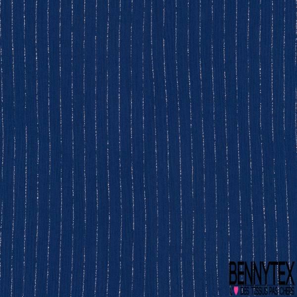 Crépon Viscose Bleu Roi Rayure Fine Lurex Argent Verticale