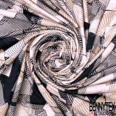 Jersey Viscose Imprimé Géométrique Beige Noir fond Blush