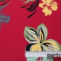 Coton Satin Motif Fleur Tropicale fond Rouge Corail
