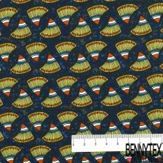 Polyester Fluide Opaque Motif Esprit Tribal Wax fond Rayé Noir Bleu Roi