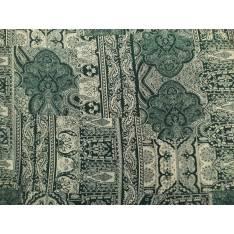 Javanaise Polyester Imprimé Cachemire Vert fond Blanc