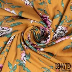 Satinette Polyester Crépon imprimé Grande Fleur fond Ocre