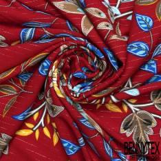 Crépon Viscose Rouge Motif Floral Rayure Fine Lurex Argent Verticale