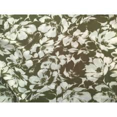 Javanaise Polyester Imprimé grandes fleurs ivoires fond Vert Olive