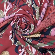 Crêpe Viscose Léger et Fluide Motif Petit Bouquet Fleur fond Marine