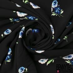 Crêpe Viscose Léger et Fluide Motif Petite Fleur Sauvage fond Noir