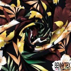 Crêpe Viscose Léger et Fluide Double Base Motif Fleur de Tiaré fond Noir