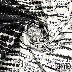 Panneau Coton Satin Motif Fleur en Solarisation Noir Blanc Taupe