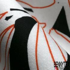 Coton Satin Motif Dessin au Trait Esprit Tripcal Orange Blanc fond Noir