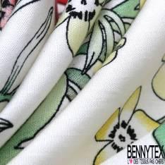 Coton semi Satiné Imprimé Grande Fleur des Tropiques fond Bleu de Gris