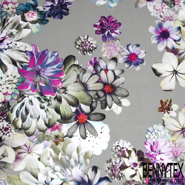 Coton Satin Motif Grosse Fleur Multiple fond Argent
