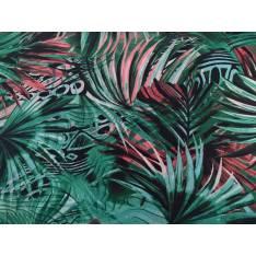 Javanaise Polyester Imprimé fleurs tropicales fond vert