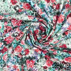 Coton Satin Motif Explosion de Fleur Champêtre Multicolore
