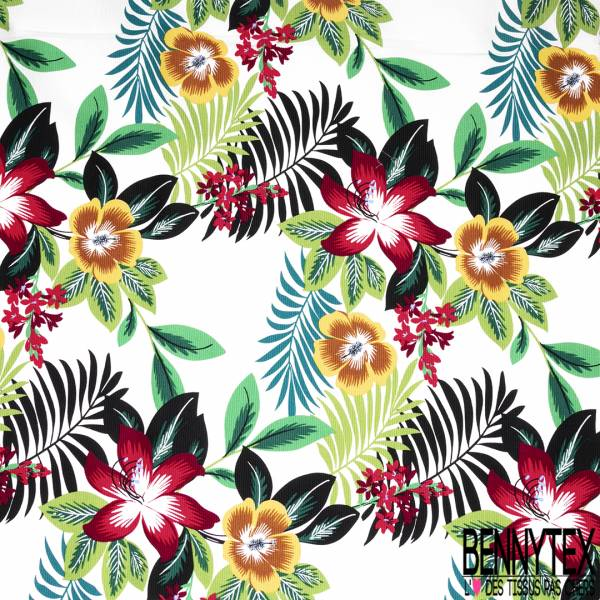 Coton Ottoman Elasthanne Motif Fleur des Îles fond Ecru