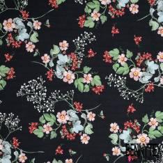 Coton Ottoman Elasthanne Motif Petite Fleur Rétro fond Noir