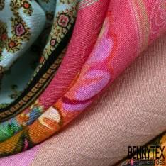 Panneau Crêpe Viscose Léger Fluide Motif Cachemire Indien fond Rose