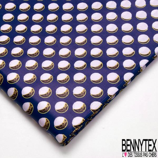 Wax Africain N° 696: Motif Eclipse Soleil fond Bleu Roi