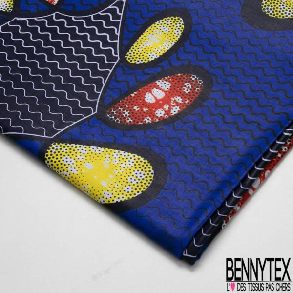 Wax Africain N° 697: Motif Naïf fond Bleu Roi Sinusoïdal