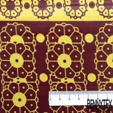 Wax Africain N° 699: Motif Fleur Naïve Répétitive Jaune fond Bordeaux