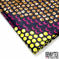 Wax Africain N° 702: Motif Pois jaune Ocre Rose fond Nuit