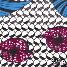 Wax Africain N° 705: Motif Fossile Mollusque fond Gros Pois Blanc