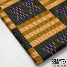 Wax Africain N° 708: Motif Quadrillage Géométrique Fantaisie Orange Vert Bouteille Ecru