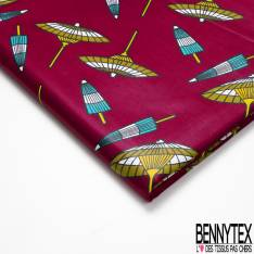 Wax Africain N° 710: Motif Ombrelle papier Japonaise fond Rouge Bordeaux